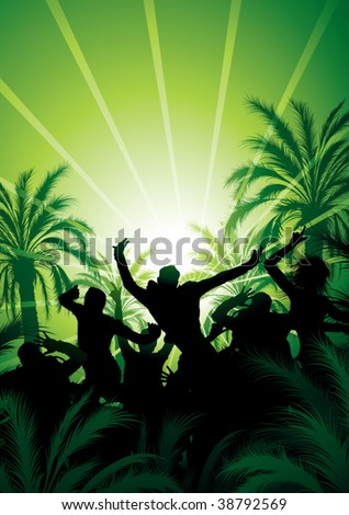 Tana under palm trees - stock vector