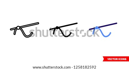 Tangent icon of 3 types: color, black and white, outline. Isolated vector sign symbol.