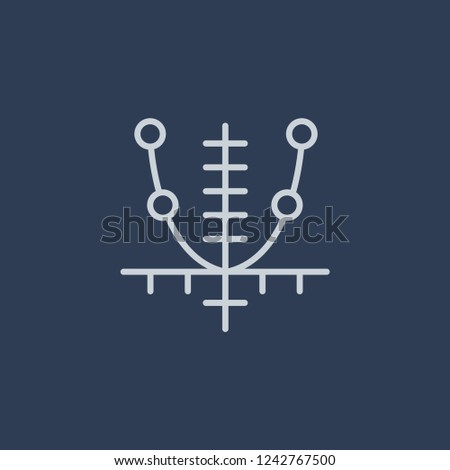 Tangent icon. Trendy flat vector line Tangent icon on dark blue background from Business and analytics collection.