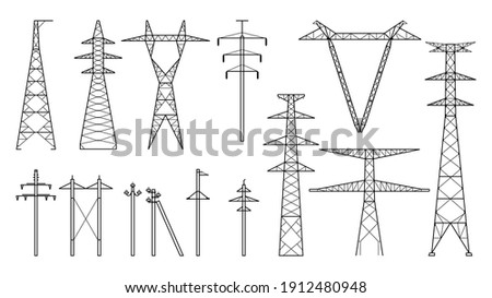 Tangent towers, high voltage electric pylons, power transmission line, types of electric poles and metal towers Foto stock ©