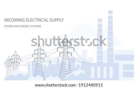 Tangent towers, high voltage power line pylons and city silhouette, town skyline, power supply Foto stock ©