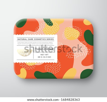 Tangerine Bath Cosmetics Package Box. Vector Wrapped Paper Container with Care Label Cover. Packaging Design. Modern Typography and Hand Drawn Citrus. Abstract Camo Background Pattern Layout. Isolated