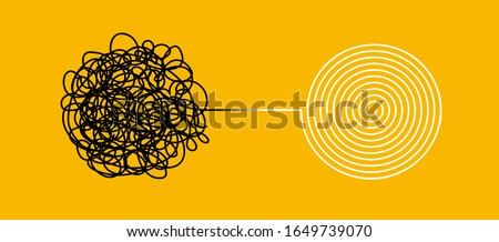 Tangle and untangle, psychotherapy and psychology concept. Tangled vector line illustration. Doodle. Abstract change graphic. Problems solution creative design concept.
