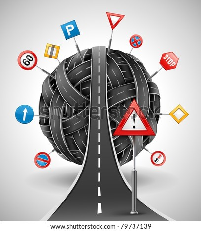 tangle ball of roads with signs