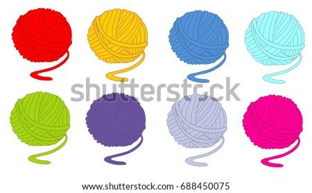 Tangle of thread yarn set vector