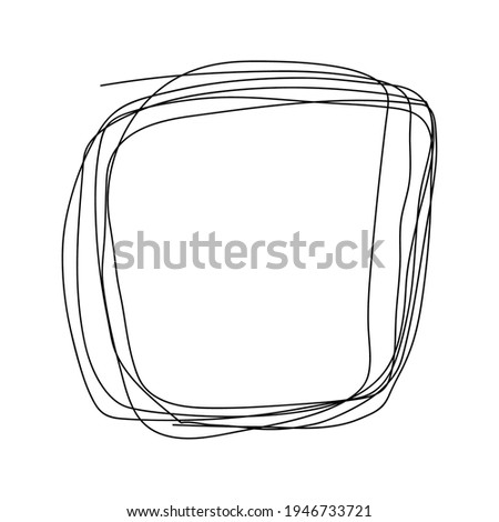 Tangle Scrawl isolated white background. hand drawn tangle scrawl sketch. Black line abstract scribble shape. Stock photo ©