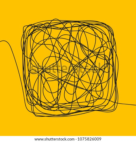 Tangle Scrawl Sketch Vector. Drawing Square. Thread Clew Knot. Chaos, Intellect. Illustration