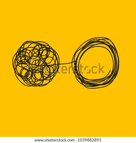 Tangle tangled and untangled. Abstract metaphor, concept of solving problems in business. Vector illustration