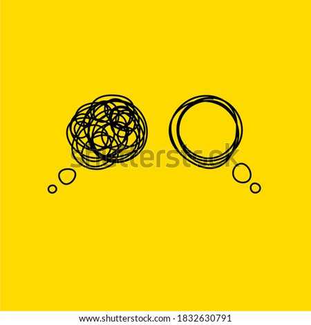 Tangle tangled and untangled. Abstract metaphor, concept of solving problems in business. Vector illustration Foto stock ©