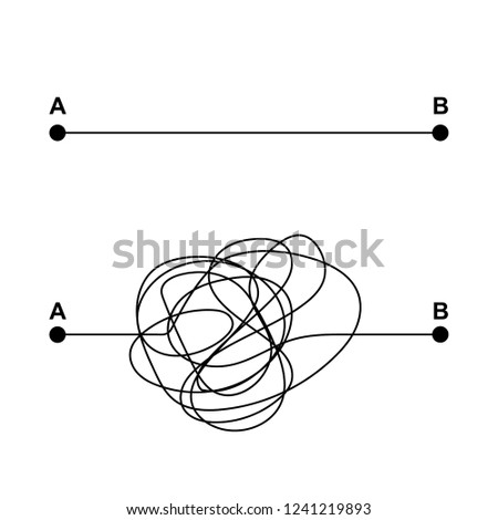 Tangled and straight path from point A to B. The concept of the problem and its solutions. Vector illustration.