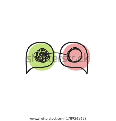 Tangled and untangled concept. Two bubbles with tangles. Coaching logo, therapy icon Foto stock ©