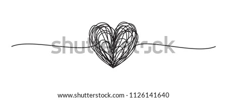 Tangled grungy round scribble hand drawn with thin line, divider shape. Isolated on white background. Vector illustration