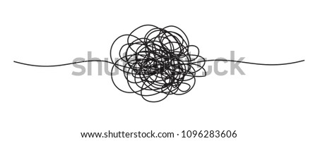 Tangled grungy round scribble hand drawn with thin line, divider shape. Vector illustration