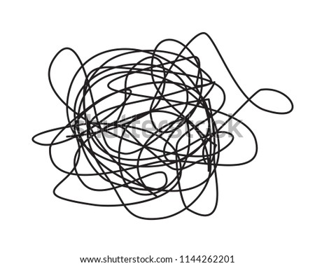 Tangled grungy round scribble hand drawn with thin line, isolated on white background. Vector illustration