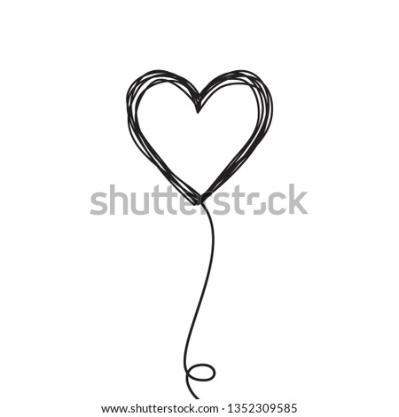 Tangled scribbled heart on a string line like an air baloon or a flower, hand drawn with thin line. Isolated on white background. Vector illustration