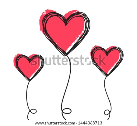 Tangled scribbled heart on a string line like an air baloon or a flower, hand drawn with thin line and red ink. Isolated on white background. Vector illustration