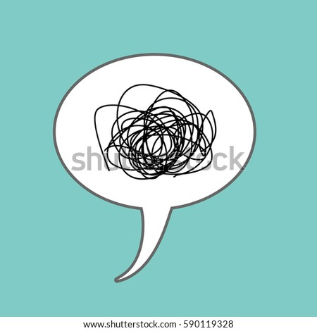 Tangled thoughts Comic speech Bubble isolated. Place for text nonsense, bullshit