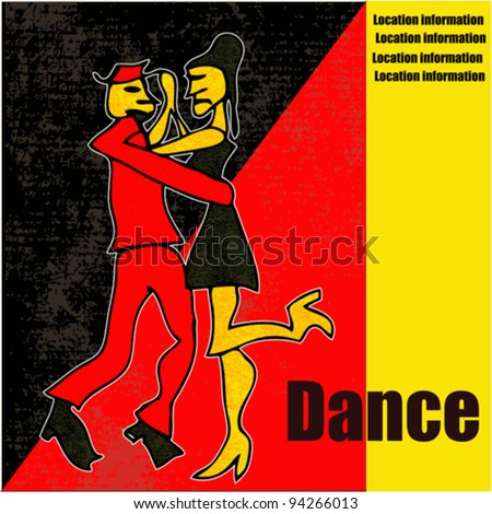 Tango Dance, cartoon style vector background