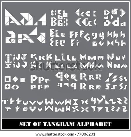 Tangram alphabet letters