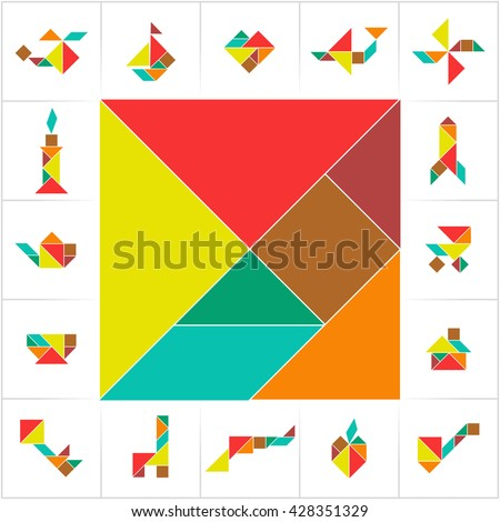 Tangram set. Collection of cards for kids board game, transform puzzle. Helicopter, sailboat, heart, plane, rocket, house, apple, gun made of geometric shapes: triangles, square, parallelogram. Vector