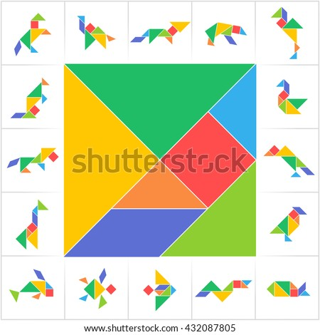 Tangram set, cut and play. Square, animals, birds, fish. Collection of printable tangram solution cards. Traditional Chinese puzzle tangram, learning game for kids, children, geometric shapes. Vector