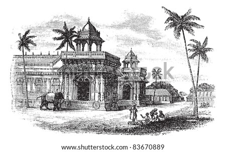 Tanjore Palace, vintage engraved illustration. Exterior of Tanjore palace. Trousset encyclopedia (1886 - 1891).