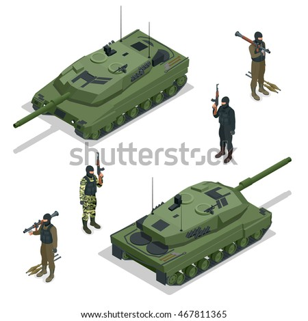 tank and soldiers flat 3d