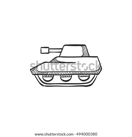 tank icon in doodle sketch