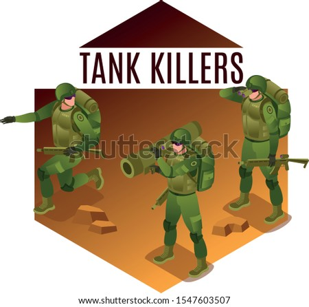 Tank Killers Modern Army Soldiers illustration isometric icons on isolated background