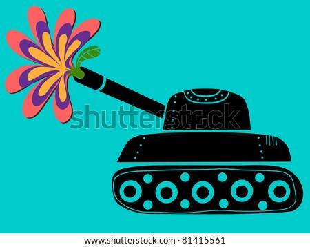 tank shoots a flower