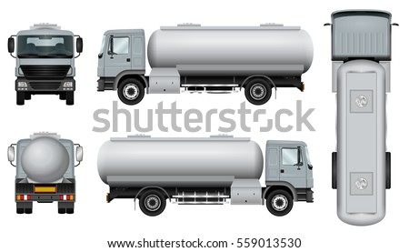 Tank truck isolated on white background. Freight vehicle vector template. The ability to easily change the color. View from side, back, front and top. All sides in groups on separate layers.