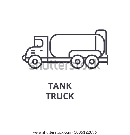 tank truck vector line icon, sign, illustration on background, editable strokes