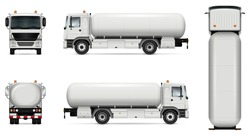 Tank truck vector mock-up. Isolated template of tanker lorry on white. Vehicle branding mockup. Side, front, back, top view. All elements in the groups on separate layers. Easy to edit and recolor