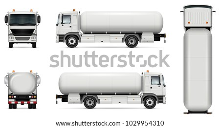 Tank truck vector mock-up. Isolated template of tanker lorry on white. Vehicle branding mockup. Side, front, back, top view. All elements in the groups on separate layers. Easy to edit and recolor.