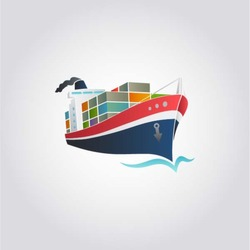 Tanker / Cargo ship with containers icon, vector illustration