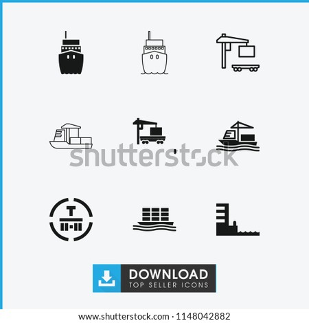 Tanker icon. collection of 9 tanker filled and outline icons such as cargo terminal, cargo truck, cargo ship. editable tanker icons for web and mobile.