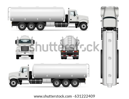 Tanker truck vector template for car branding and advertising. Isolated tank car set on white. All layers and groups well organized for easy editing and recolor. View from side, front, back, top.