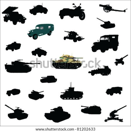 Tanks, artillery and vehicles from second world war vector