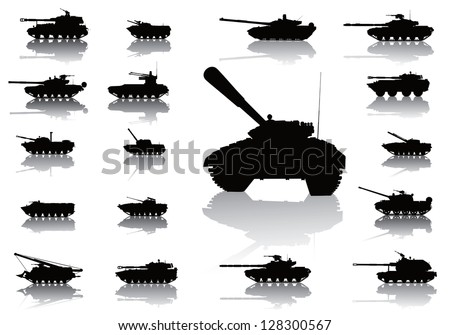 tanks detailed silhouettes set