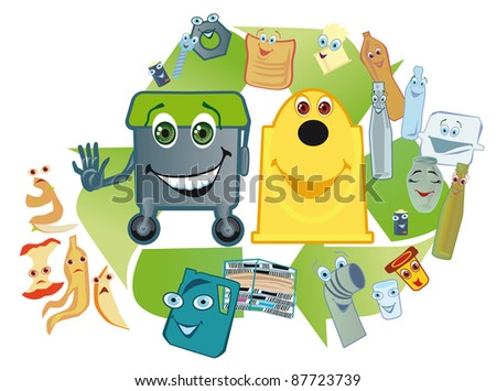 tanks for separate collection of wastes for the second processing push away domestic garbage