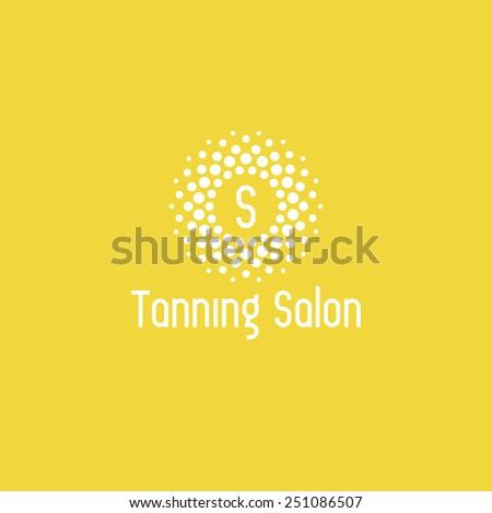 Tanning salon logo design vector template. Sun icon