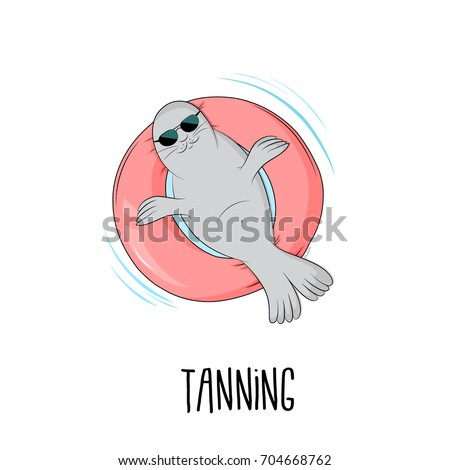 tanning seal vector...