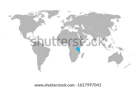 Tanzania highlighted blue on world map. African country. Perfect for business concepts, backgrounds, backdrop, poster, chart, banner, label, sticker and wallpapers.