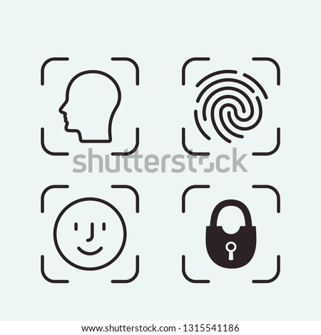 Tap the fingerprint identification icon. Identification pattern set. flat vector linear illustration on white background