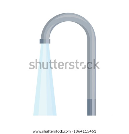 Tap with running water. The tap from which the water pipe flows. Providing housing with water from Central water supply sources. Vector illustration isolated on a white background for design and web.  Photo stock ©