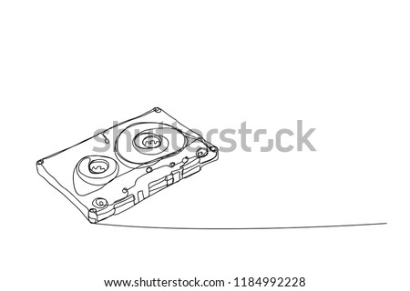 tape cassette ,line drawing style, vector design