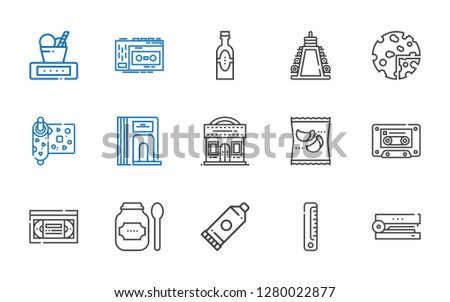 tape icons set. Collection of tape with stapler, ruler, glue, products, vhs, cassette, cinema, divider, wrapping, weight, recorder. Editable and scalable tape icons.