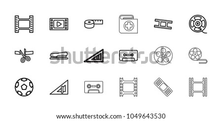 Tape icons. set of 18 editable outline tape icons: triangle ruler, cassette, stapler, scissors and ribbon