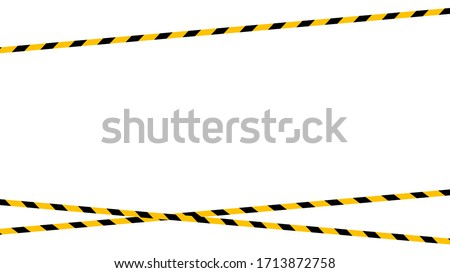tape line yellow black stripe pattern isolated white background, warning space with ribbon tape sign or comfort safety zone, safety banner for copy space, ribbon yellow black stripe, tape line caution