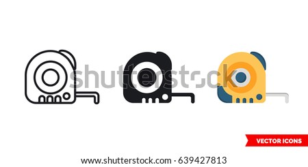 Tape measure icon of 3 types: color, black and white, outline. Isolated vector sign symbol.